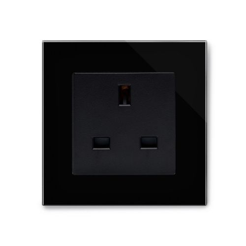 RetroTouch Single Plug Socket 13A Unswitched Black Glass PG 04044
